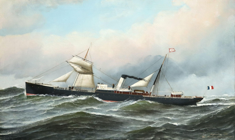 S.S. Chateau Lafite - 19th Century Oil, Maritime Landscape by Antonio Jacobsen