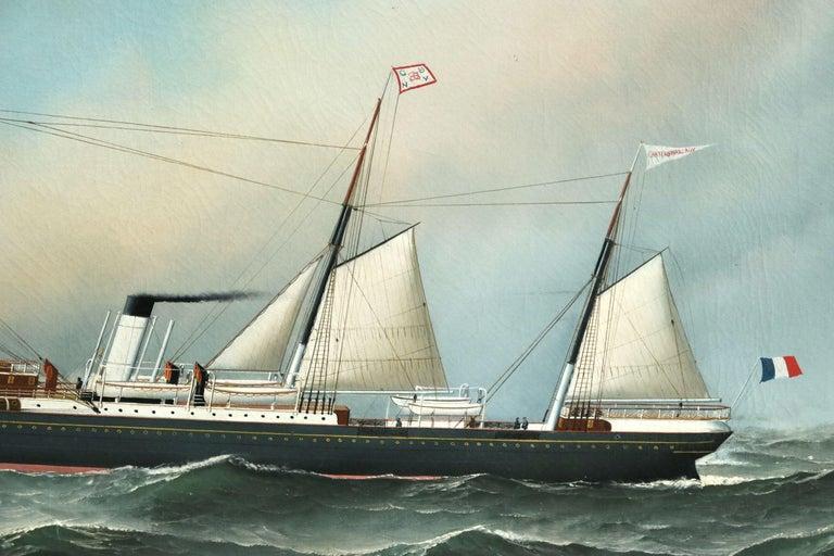 S.S. Chateau Margaux - 19th Century Oil, Maritime Landscape by Antonio Jacobsen For Sale 3