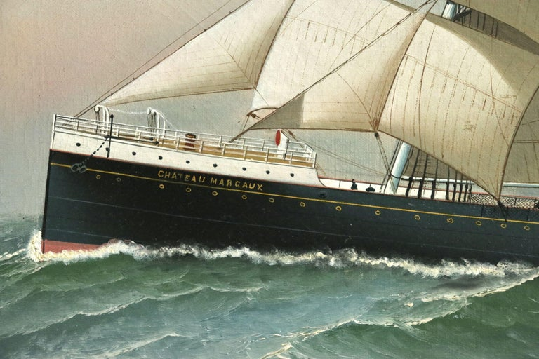 S.S. Chateau Margaux - 19th Century Oil, Maritime Landscape by Antonio Jacobsen For Sale 6