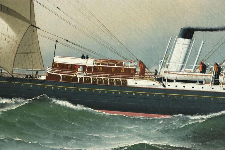 S.S. Chateau Margaux - 19th Century Oil, Maritime Landscape by Antonio Jacobsen For Sale 7