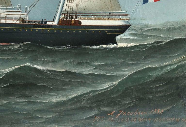 S.S. Chateau Margaux - 19th Century Oil, Maritime Landscape by Antonio Jacobsen For Sale 8