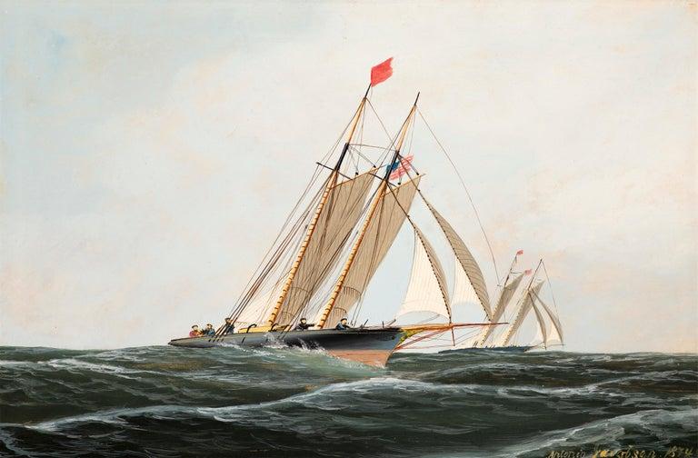 Antonio Jacobsen Landscape Painting - The Yacht Race