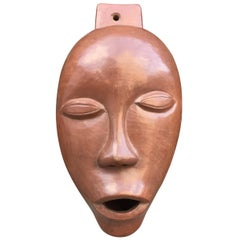 Antonio Lampecco Terracotta Enamelled Mask, circa 1960