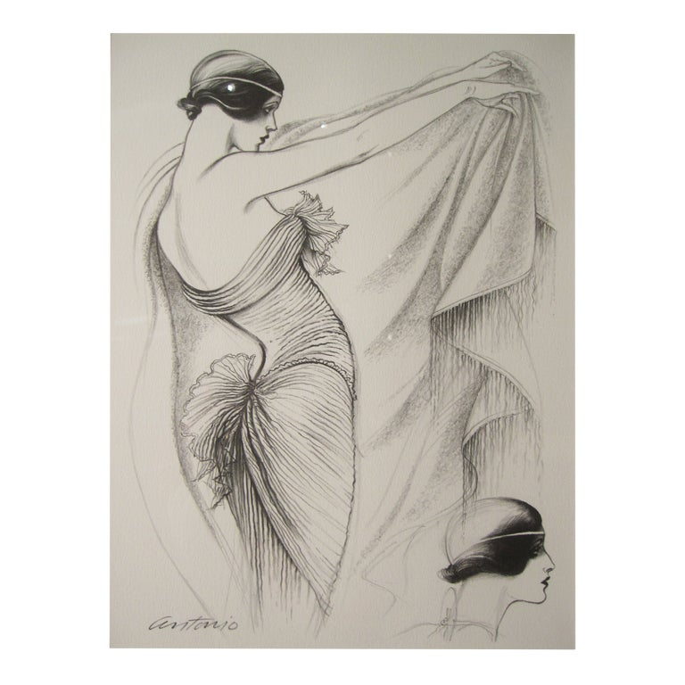 LIMITED EDITION ILLUSTRATION BY ANTONIO LOPEZ (1943 - 1987)  DESIGNER... Mary McFadden    Original lithographic print from a limited edition of 500 printed in 1979 after which, the original plates were destroyed. This is # 344 /500. It was part of a