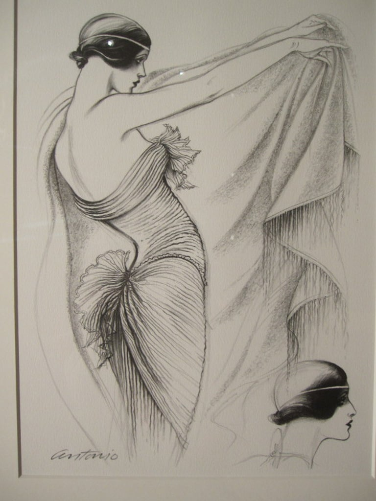 Gray Antonio Lopez 1979 Coty Award Lithograph Mary McFadden For Sale