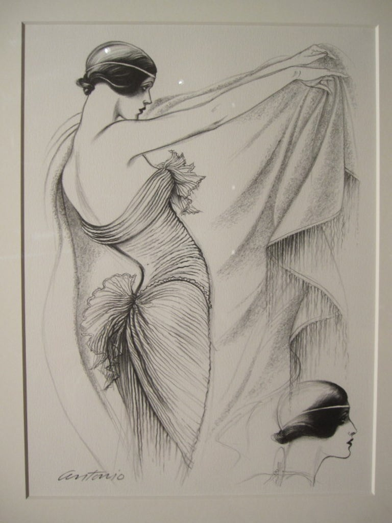 Antonio Lopez 1979 Coty Award Lithograph Mary McFadden In Good Condition For Sale In San Francisco, CA