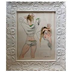 Antonio Lopez Original Framed Watercolor of an Underwear Fashion Illustration