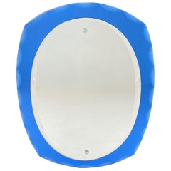 Antonio Lupi Mid-Century Modern Italian Oval Mirror by Cristal Luxor, 1960s