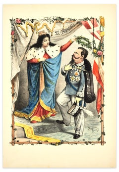 Coronation of Vittorio Emanuele II - Lithograph by A. Maganaro - 1872