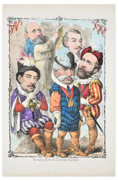 New Moses and Knights of the Right - Lithograph by A. Maganaro - 1872