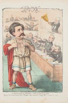 """Onorevole Romano Detto """"Il Tribuno""""  - Lithograph by A. Maganaro - 1872"""