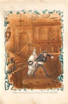 Solemn Receiving - Original Lithograph by Antonio Manganaro - 1872