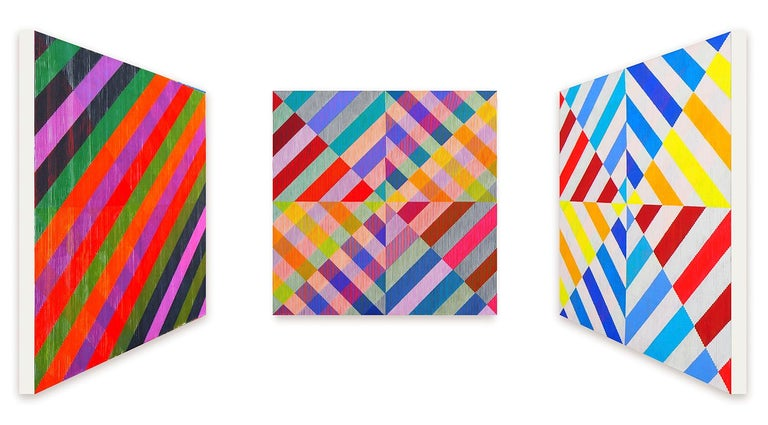Multi-colour, op art.  Three artworks in one painting, where the artworks changes when you walk from left to right. One side are linear forms; the other is multi-colour geometrics.  Antonio Marra's 3D paintings are simultaneously familiar and