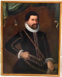 17th century Italian portrait of a man - Old Master Armory Ruff collar Knight