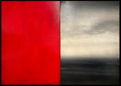 """""""Untitled (Diptych)"""" Minimalist Abstract Diptych Oil Painting in Red and Gray"""