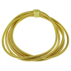 Antonio Papini Gioielli 5 Strand DNA Choker Necklace 18 Karat Yellow Gold Italy