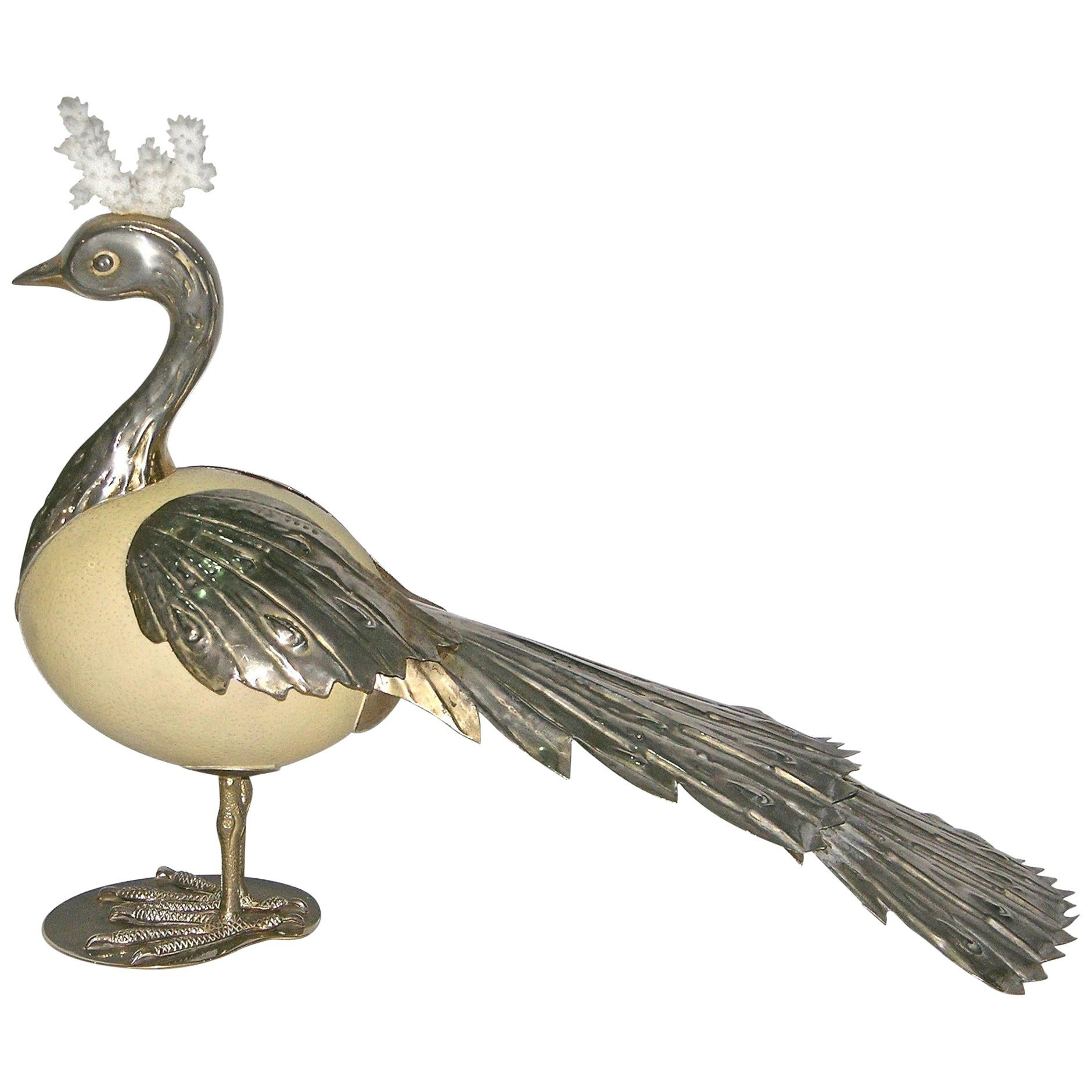 Antonio Pavia 1970s Italian Silver Plated Bird Sculpture with White Coral