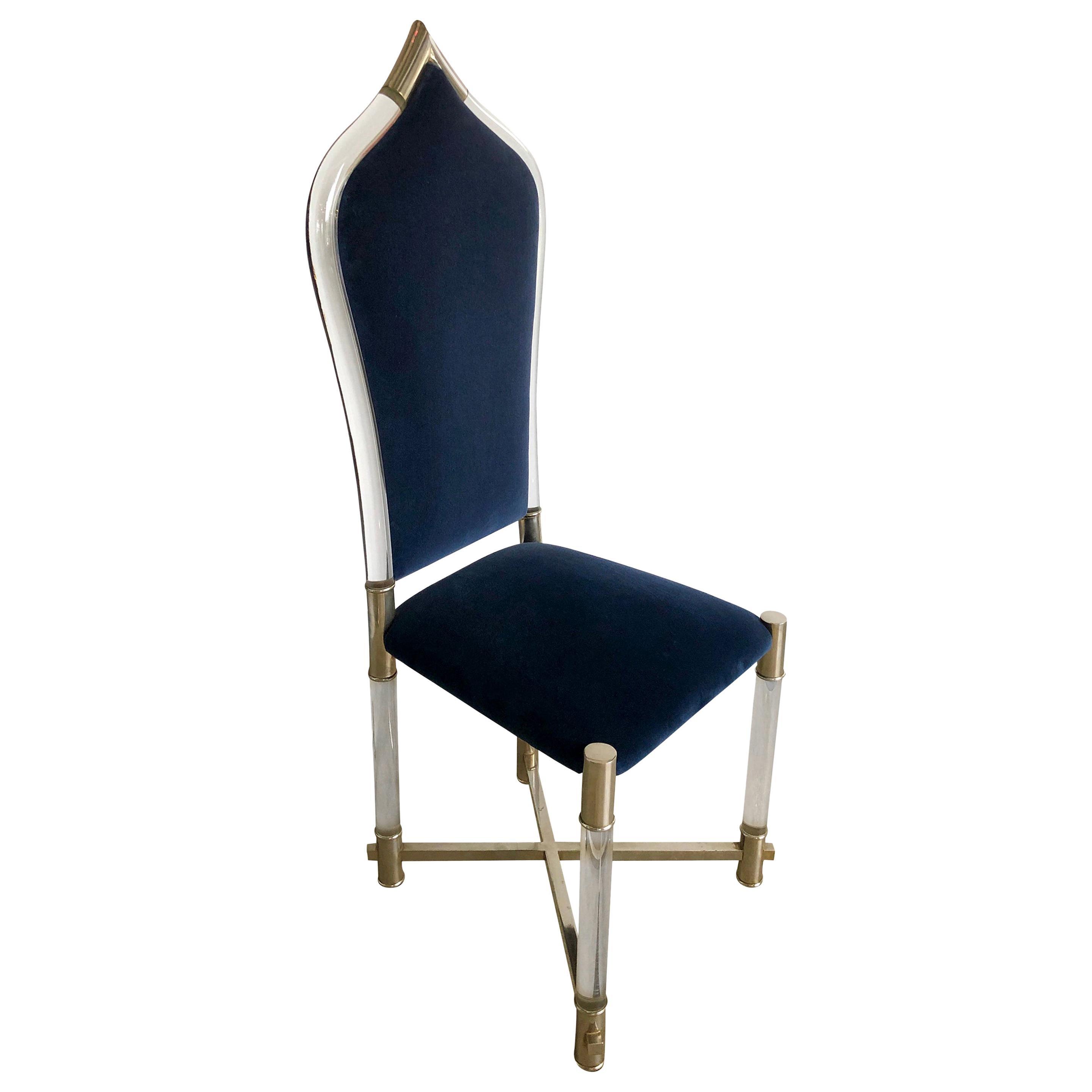 Antonio Pavia Lucite Frame w/ Stainless Steel & New Blue Velvet High Back Chair