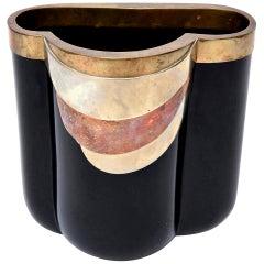 Antonio Pavia Murano Black Glass and Mixed Metals Sculptural Vase Vessel Italian