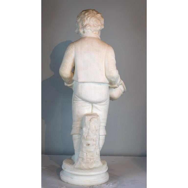 Carved Antonio Piazza Italian Carrara Marble Figure of a Boy Holding a Hat For Sale
