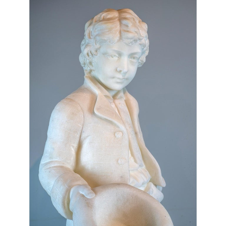 19th Century Antonio Piazza Italian Carrara Marble Figure of a Boy Holding a Hat For Sale