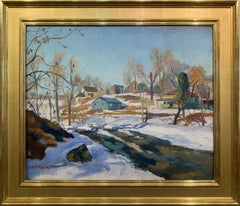 Antonio Martino, Winter in New Hope, Oil on Canvas, 1940's