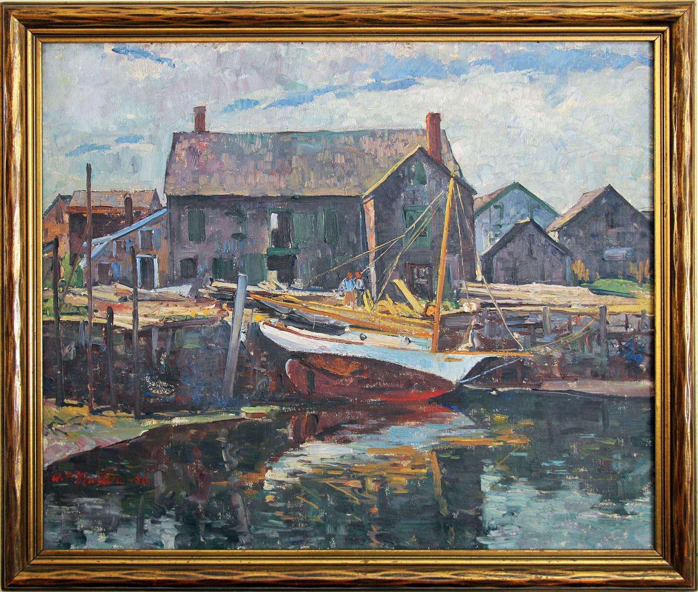 Fishing Boats, Gloucester MA, American Impressionist Harbor Scene