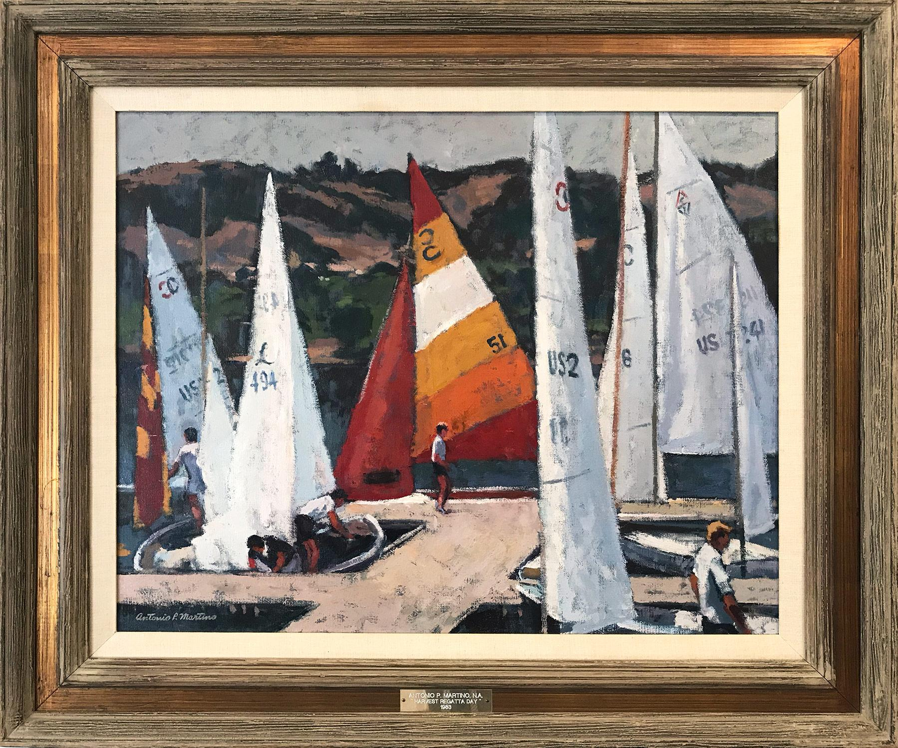 """""""Harvest Regatta Day"""" Oil Painting with Sailboats and Figures on the Marina"""