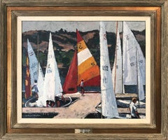 """Harvest Regatta Day"" Oil Painting with Sailboats and Figures on the Marina"