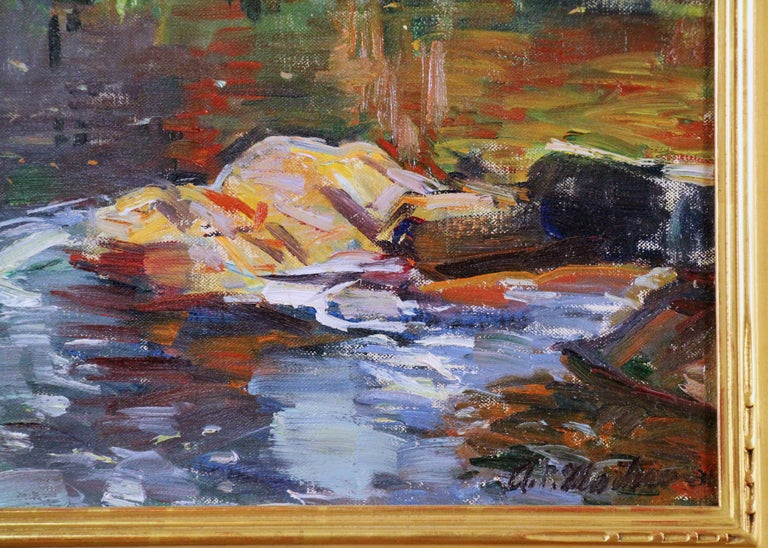 Landscape by River with Figure, American Impressionist, Oil on Canvas - Black Landscape Painting by Antonio Pietro Martino