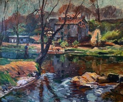 Landscape by River with Figure, American Impressionist, Oil on Canvas
