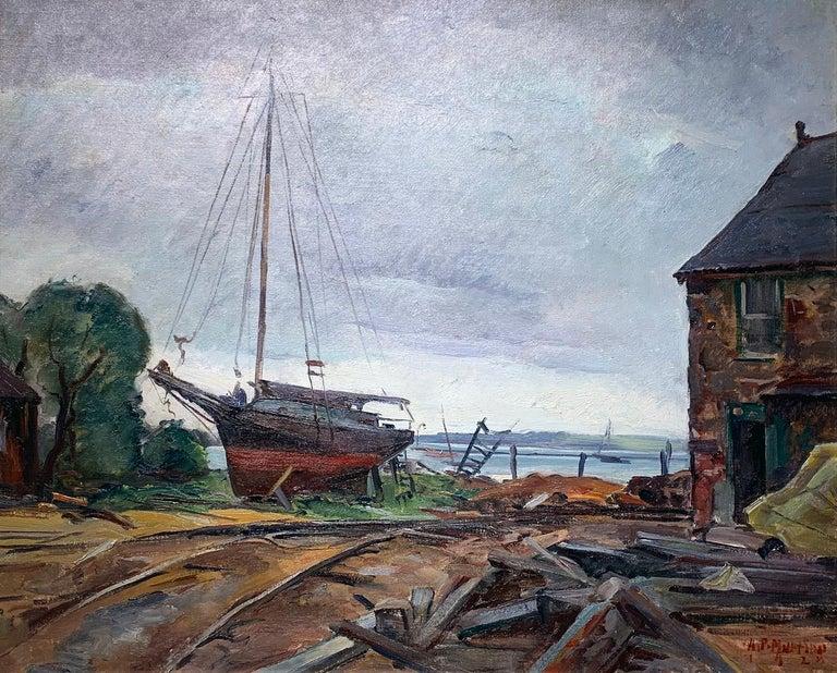 Repair Yard, Gloucester Shipyard Landscape, American Impressionist, 1925 - Painting by Antonio Pietro Martino
