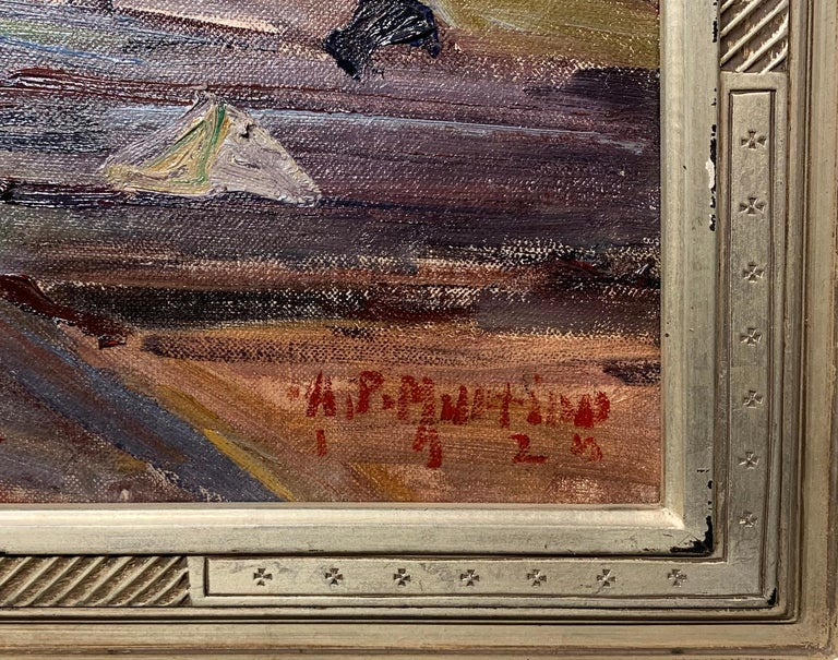 Repair Yard, Gloucester Shipyard Landscape, American Impressionist, 1925 - Gray Landscape Painting by Antonio Pietro Martino