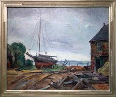 Repair Yard, Gloucester Shipyard Landscape, American Impressionist, 1925