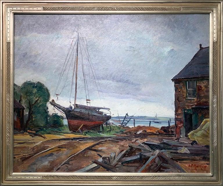 Antonio Pietro Martino Landscape Painting - Repair Yard, Gloucester Shipyard Landscape, American Impressionist, 1925