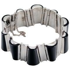 Antonio Piñeda Bracelet in Silver and Onyx, circa 1953, Rare