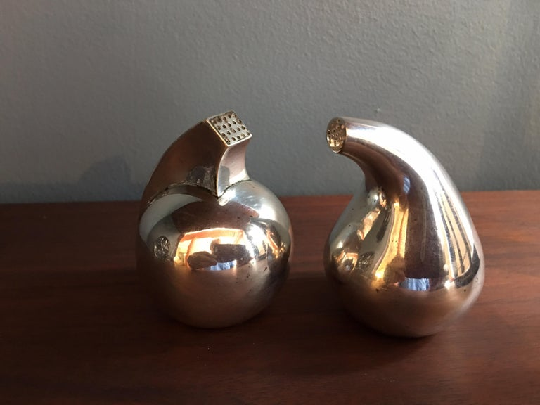 Mid-Century Modern Antonio Pineda Mexican 925 Silver Salt and Pepper For Sale