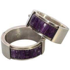 Antonio Pineda Pair of Sterling Silver and Amethyst Hinged Bangle Bracelets