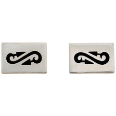 Antonio Pineda Silver Taxco Cufflinks with Inset Onyx is Uncommon, Pair