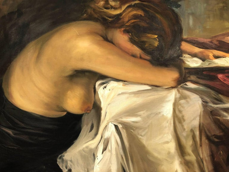 This is a wonderful example of Italian Artist Antonio Privitera's dramatic Nude portraits. The artist was truly a master of capturing the energy and the emotion of his subjects effortlessly. A striking piece, with expressed lust and beauty as the