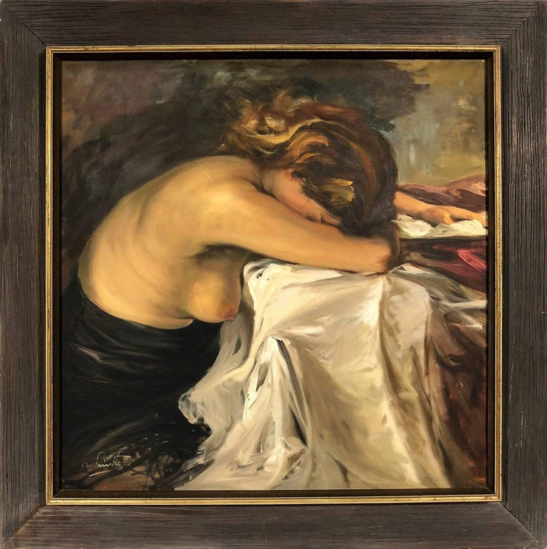 "Antonio Privitera  Figurative Painting - ""Abbandonata"" Nude Portrait of a Woman Oil on Board Painting by Italian Artist"