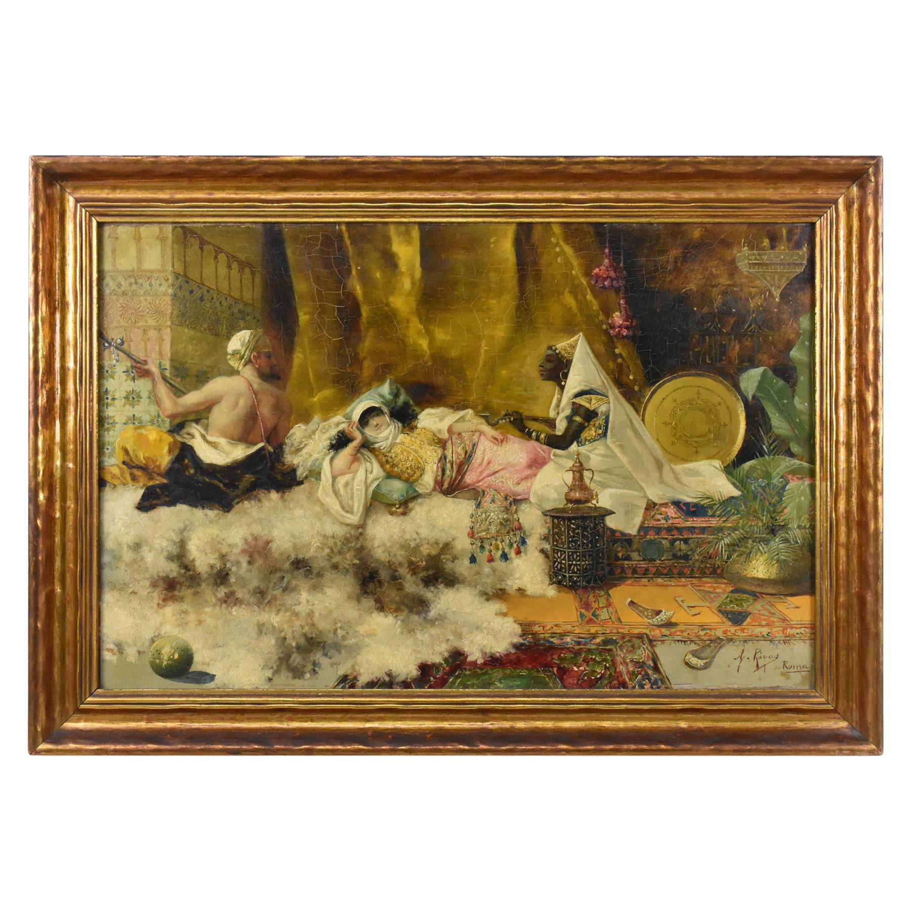 Antonio Rivas Oil Painting on Board, 2 Musician's Serenading a Reclining Woman