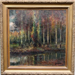 Spanish Wooded Landscape - Impressionist oil painting autumnal trees river