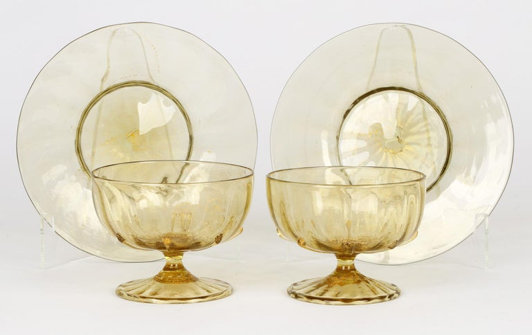 Antonio Salviati Pair Venetian Revival Art Glass Dessert Bowls and Stands For Sale 3