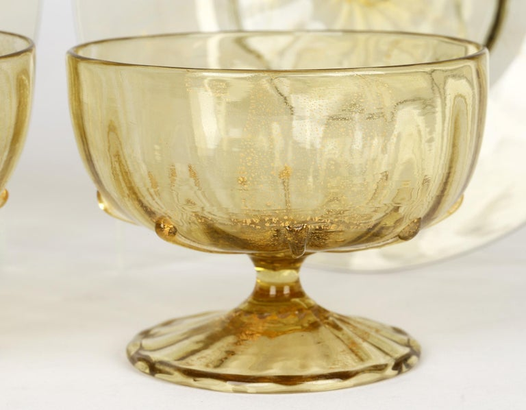 Antonio Salviati Pair Venetian Revival Art Glass Dessert Bowls and Stands For Sale 4