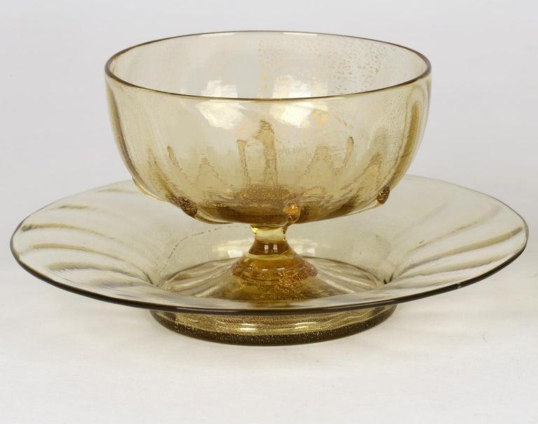 Antonio Salviati Pair Venetian Revival Art Glass Dessert Bowls and Stands For Sale 5