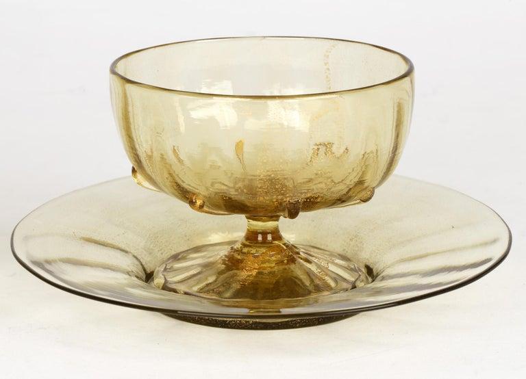 Antonio Salviati Pair Venetian Revival Art Glass Dessert Bowls and Stands For Sale 7
