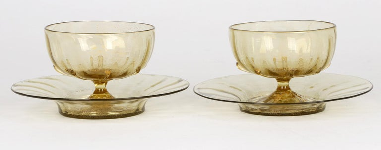 Antonio Salviati Pair Venetian Revival Art Glass Dessert Bowls and Stands For Sale 8