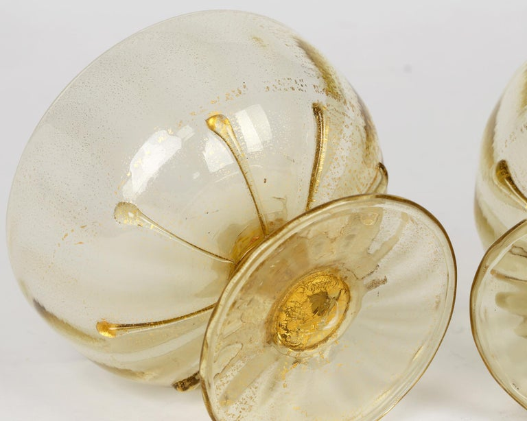 Antonio Salviati Pair Venetian Revival Art Glass Dessert Bowls and Stands For Sale 10