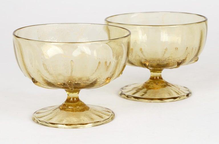Antonio Salviati Pair Venetian Revival Art Glass Dessert Bowls and Stands For Sale 11